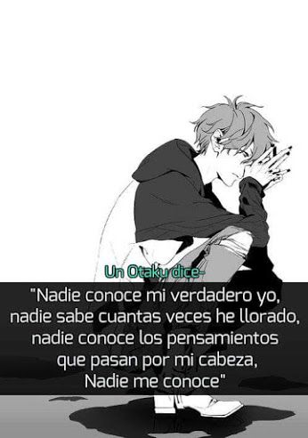 "Frases anime - Comunidad - Google+ | An otaku says ""Nobody knows the real me. Nobody knows how much I've cried. Nobody knows the thoughts that go through my head. Nobody knows the real me."" That's what it says in Spanish."