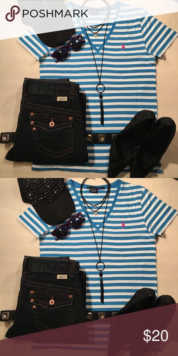 Women's tee shirt EUC blue and white striped Ralph Lauren tee shirt. Ralph Lauren Tops Tees - Short Sleeve
