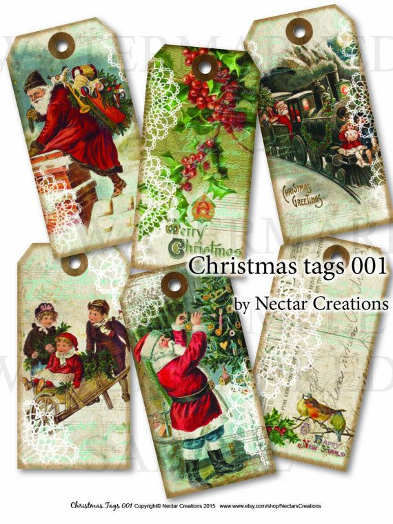 Christmas tags vintage Printable images by NectarsCreations