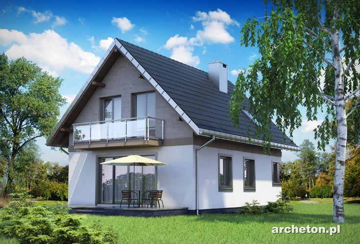 Projekt domu Gawra - mały domek na planie prostokąta z przestronnym pokojem dziennym ceramika - Archeton.pl