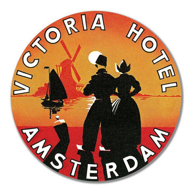 Victoria Hotel, Amsterdam luggage label