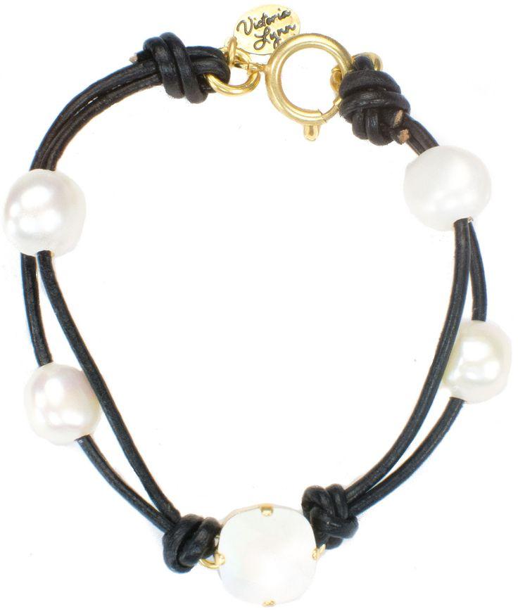 Victoria Lynn Leather & Pearl South Sea Pearl Bracelet