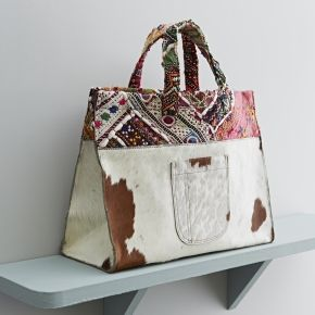 Rose & Rose Cowhide bag with embroidery