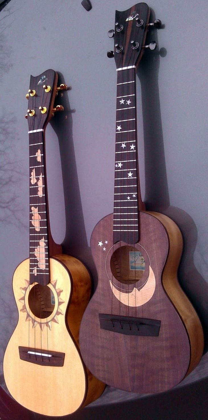 """2 Ukuleles today but they are a matched set """"Sun and Moon"""" by Fred Kroner of Leeward Lounge"""