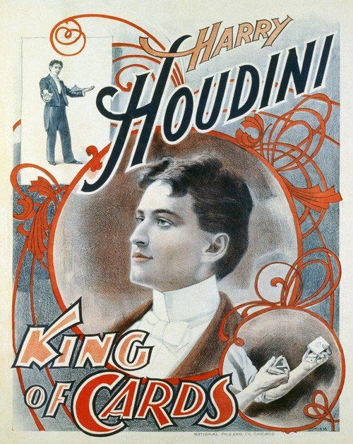 Harry Houdini, King of Cards. Vintage Harry Houdini poster, 1895. This poster shows magician Harry Houdini performing card tricks.