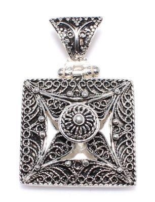 925 Ayar Gümüş Kare Telkari Kolye Ucu