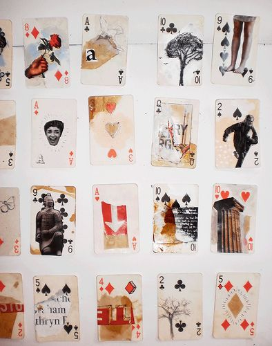 Using a deck of cards as a collage base - kids make a fun personal exploration body of work with the theme 'Soul Searching' yr 9-11cards2 | by kearnsyart.com