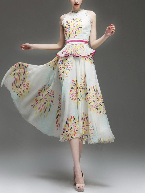 spring dress summer dress women clothing womens clothing women dress womens dresses skirt chiffon dress long dress lady new style DHJFF333 . . . I love so many things about this. . .  The fun print, the flowly fabric, the cute peplum . . . . if only it have sleeves.