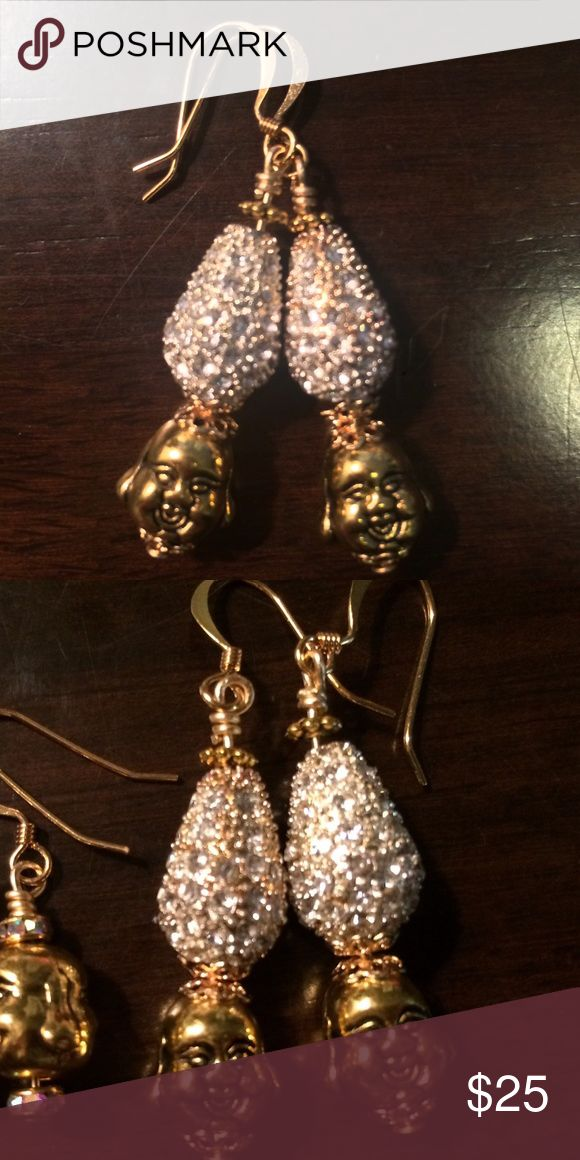 Golden Buddha earrings with crystal pear droplets Golden Buddha earrings with crystal pear droplets brand new Jewelry Earrings