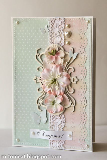 gorgeous, lacey pink and whi card with flowers, lace and pearls...delightful!!
