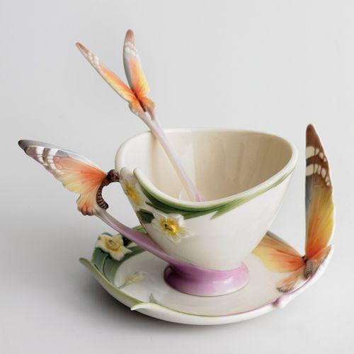 """Papillon"" butterfly design sculptured porcelain cup, saucer & spoon set"