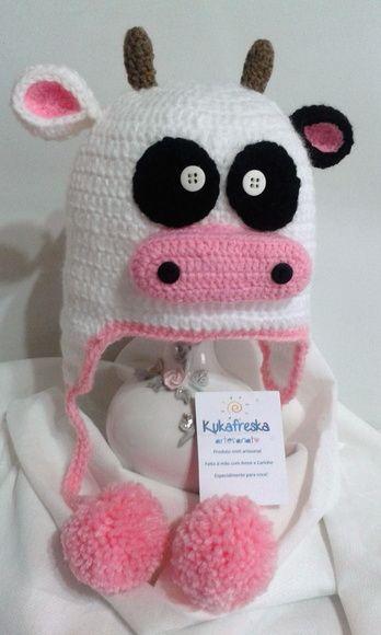 Touca de Croche Infantil Vaquinha