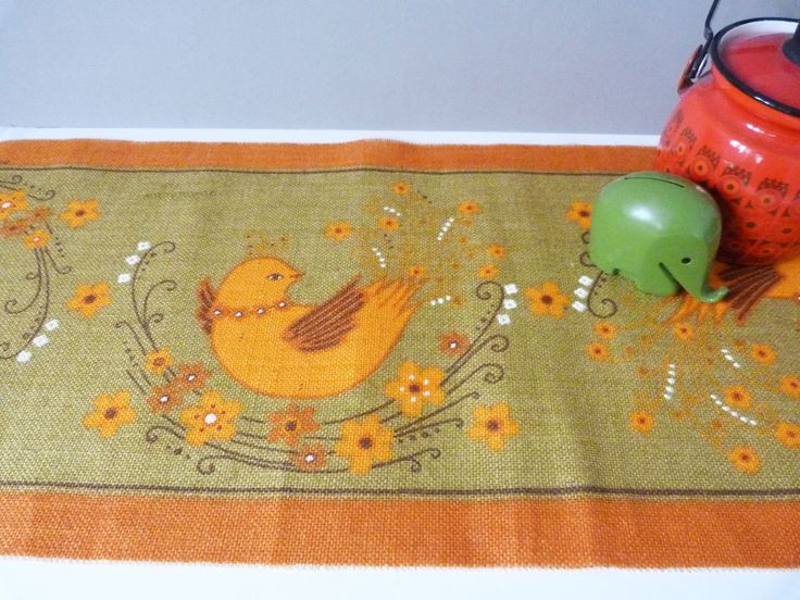 Vintage 1970's Swedish scandinavian table runner by Buhler by planetutopia on Etsy