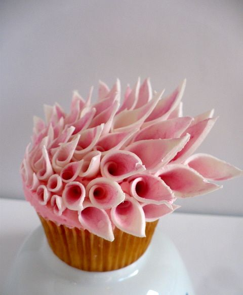 Fantastically unique couture inspired floral cupcake!