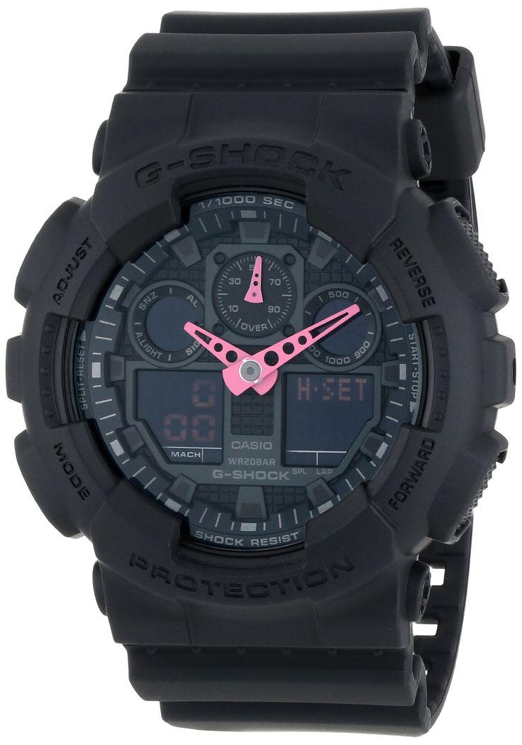 G-Shock GA-100 Neon Highlights Trending Series Men's Luxury Watch - Black/Pink / One Size - OMG