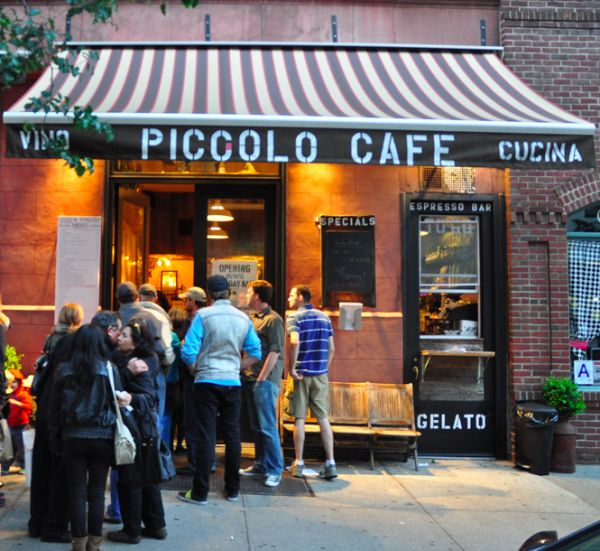 Queuing out the door... a sure sign of good coffee.   Piccolo Cafe NYC