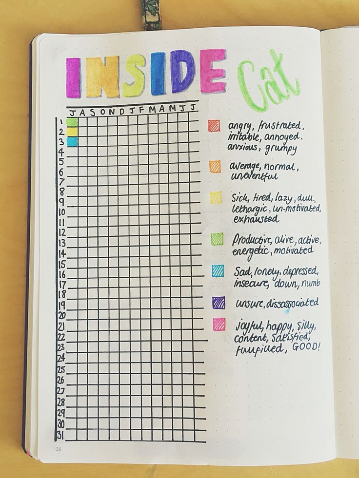 Mood tracker for the bullet journal / bujo / ideas / inspiration