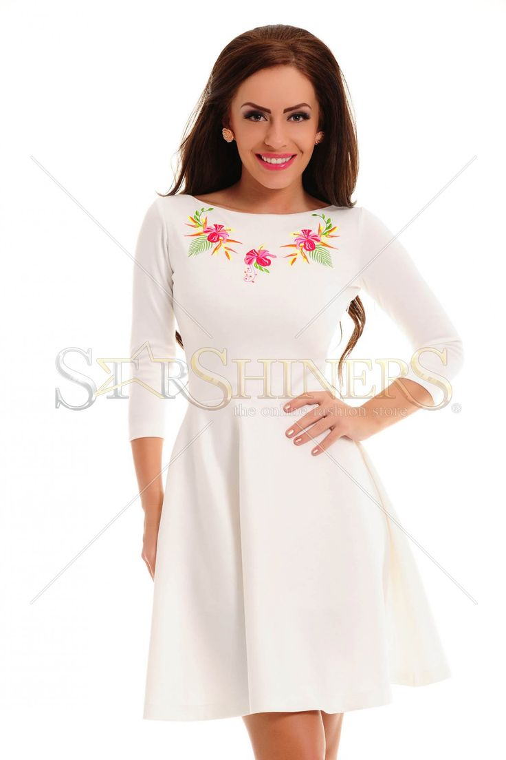 StarShinerS Brodata Sunrise White Dress