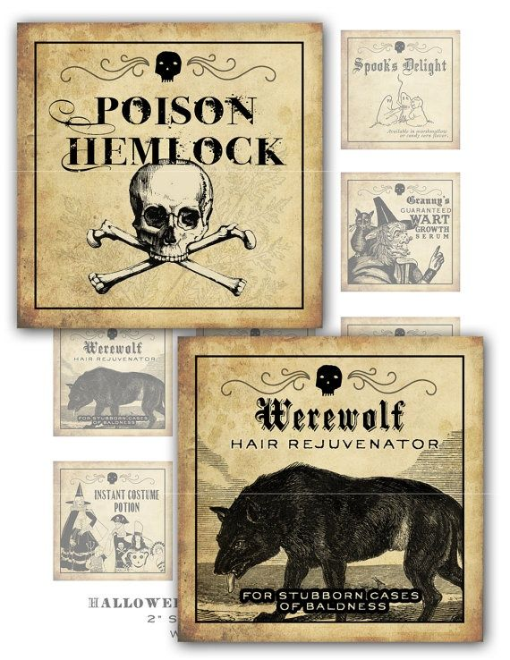 printable halloween potion labels pictures - Antique Halloween Decorations
