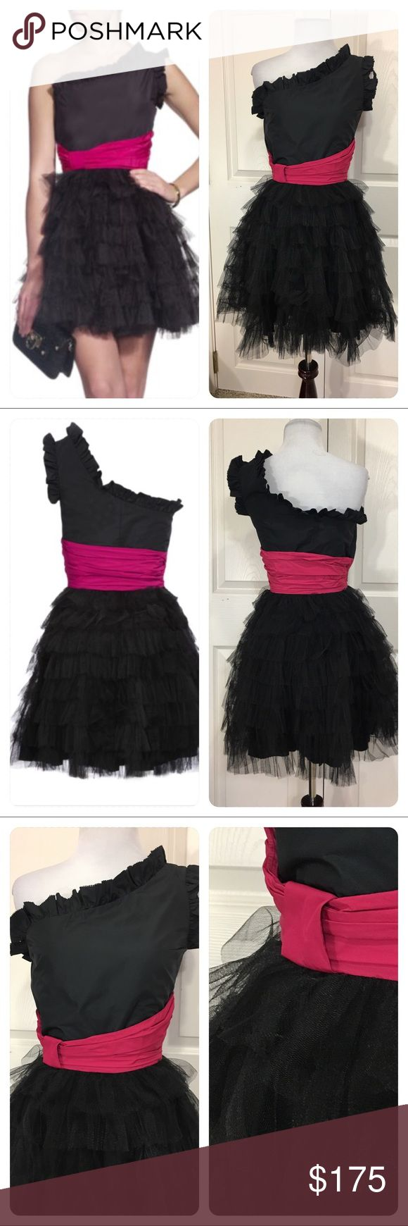NWT!  Red Valentino black one shoulder dress New with tags!  Gorgeous one shoulder black dress with pink waist sash. Side zipper. Tiers of tulle.  Dress is a 2. It's a Little to small for the dress mannequin. Last seen on sale at Harrods for $822. RED Valentino Dresses One Shoulder