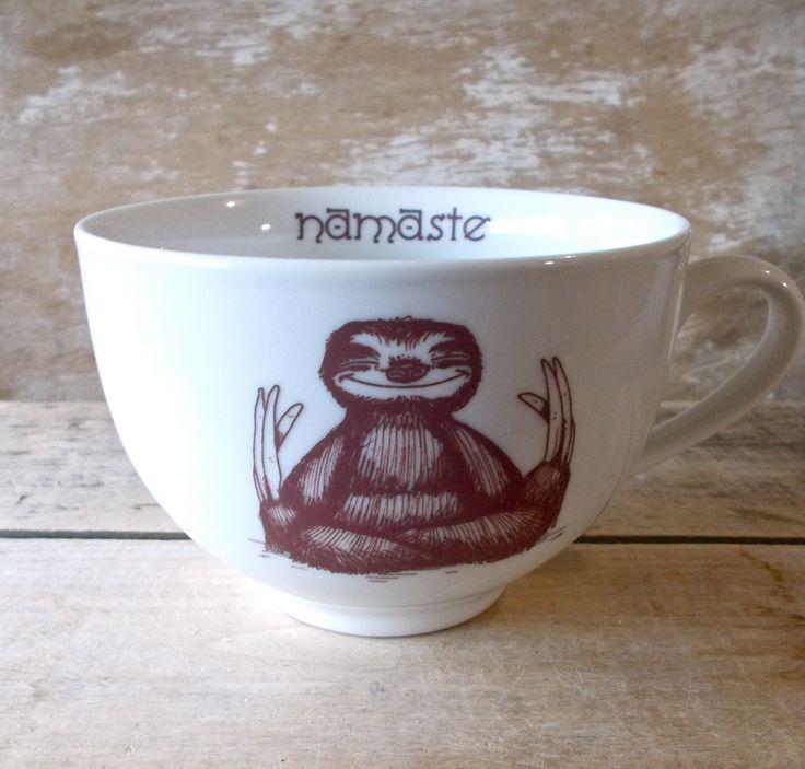 Mug Namaste Baby Sloths, Huge Cappuccino Cup style Teacup, 23 oz Coffee Mug, Ready to Ship