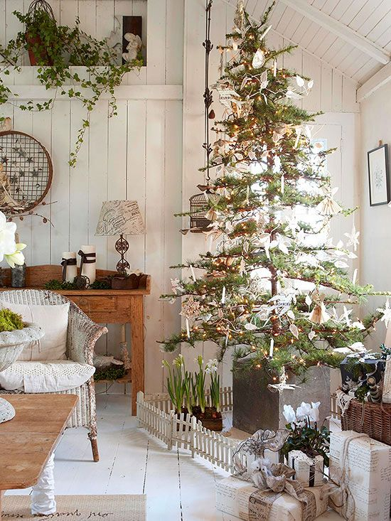 This reminds me of the trees we used to get from the forest, the branches could only hold the lightest ornaments.  Difficult to decorate but so beautiful when done.  I loved those trees and I love this tree.