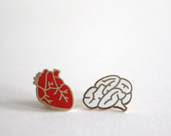 Anatomical Heart Pin Badge Hard Enamel Pin Back by RockCakes