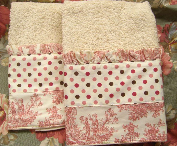 2/ PINK Polka Dots and Toile WAVERLY fabric on Cream Hand Towels * Pretty #CustomDecorated #Linens