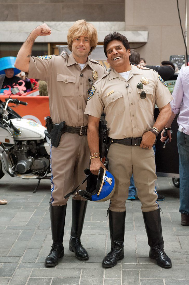 Pin for Later: The All-Time Best Celebrities in Pop Culture Costumes CHiPs Carson Daly and Erik Estrada donned CHiPs outfits in 2013.