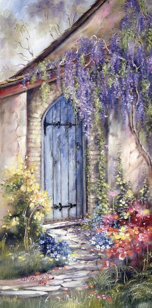 """Quiet Garden"" painting by: Marty Bell  Marty was my Great Aunt.  Random that I just saw this on Pinterest! MGV"