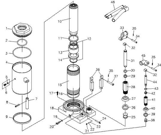 hydraulic bottle jack repair diagram