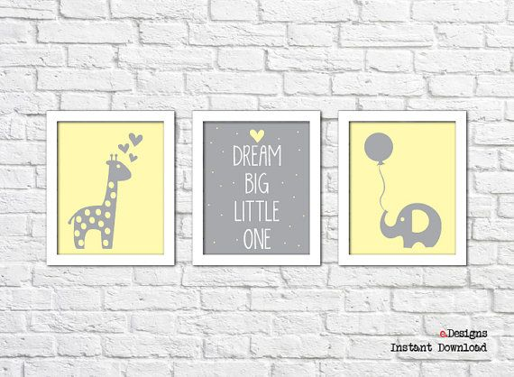 Printable Nursery Wall Art Set of 3 Printable by eDesignss on Etsy