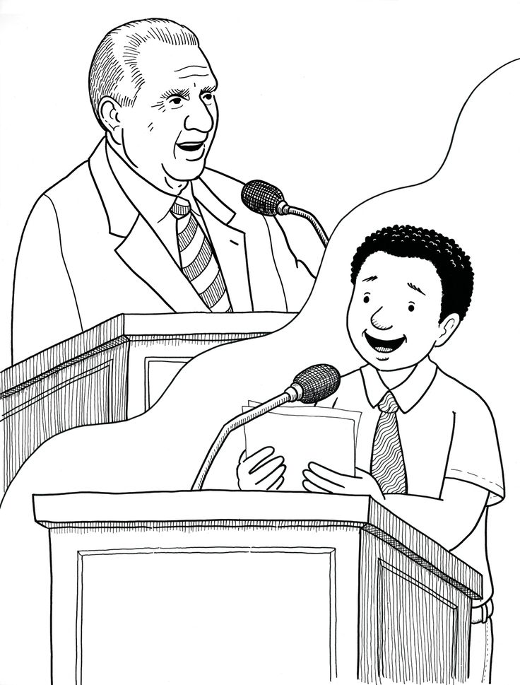 I Can Give A Talk Just Like President Monson Primary Coloring Page