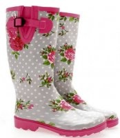spotty rose wellies