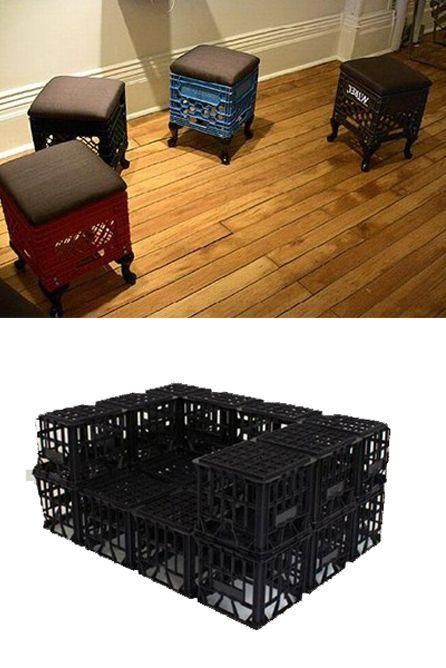 Muebles con cajas de plástico
