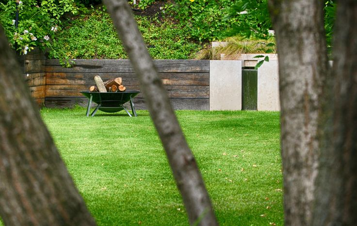 #landscape #architecture #garden #water #feature #cascade #firepit #lawn