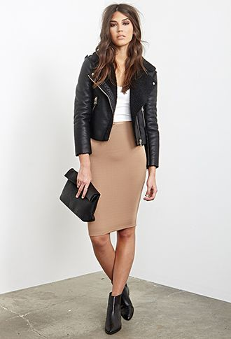 Shop this look on Lookastic:  http://lookastic.com/women/looks/shearling-jacket-cropped-top-pencil-skirt-clutch-chelsea-boots/6853  — Black Shearling Jacket  — White Cropped Top  — Tan Pencil Skirt  — Black Leather Clutch  — Black Leather Chelsea Boots