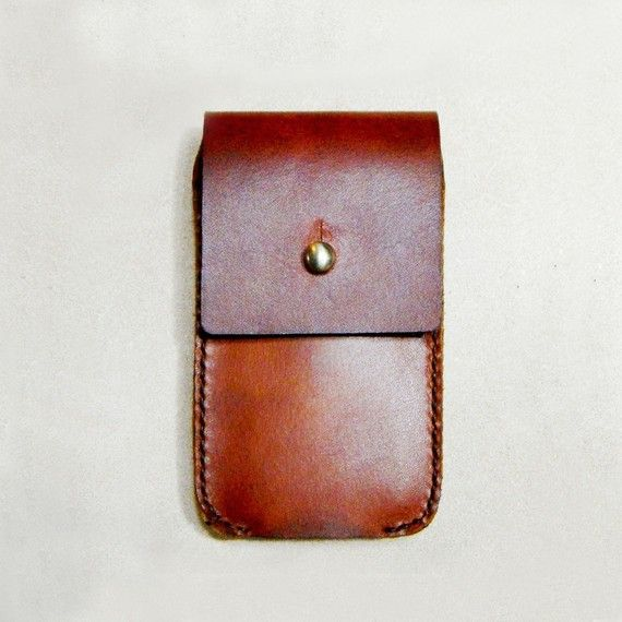 Elegant Brown Leather iPhone (2G/3G/4G) Case - Hand Made and Hand Colored