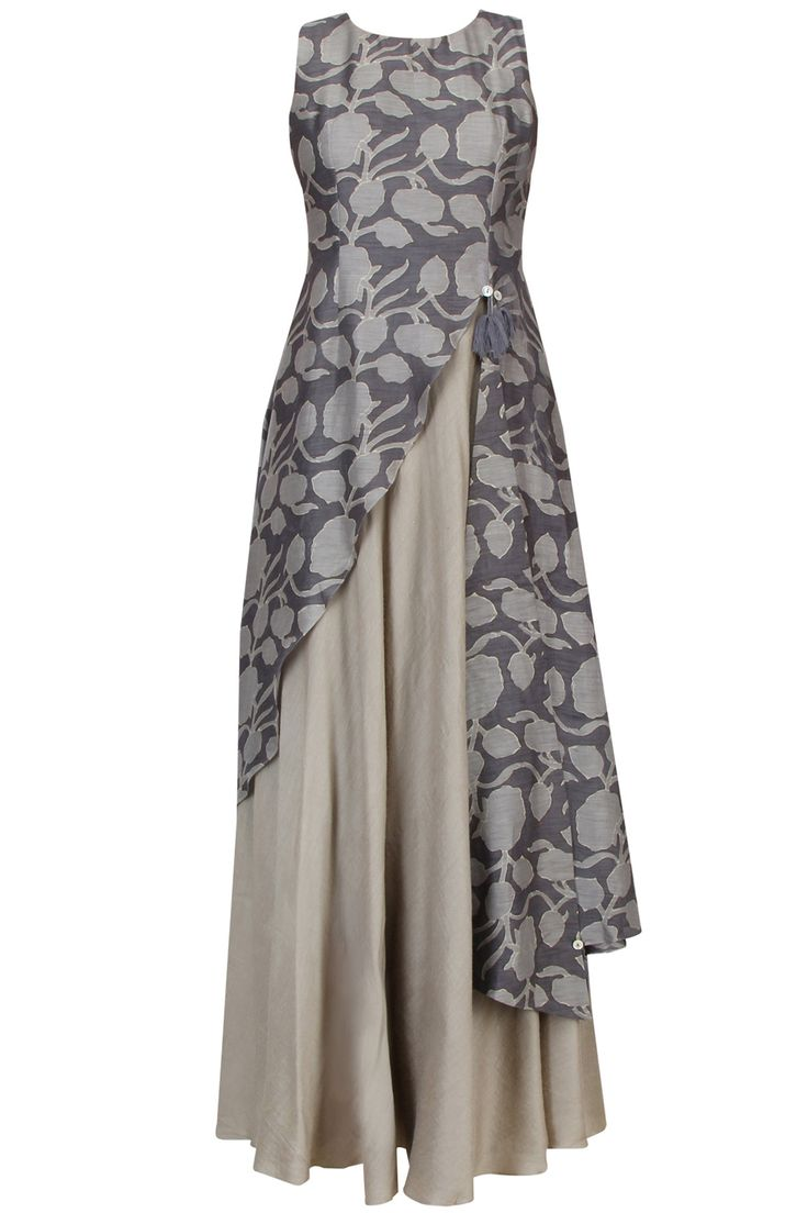 Dark grey floral printed asymmetric maxi dress available only at Pernia's Pop…