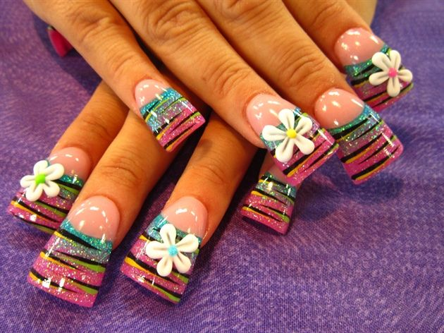 stripes and 3-d flowers by Oli123 - Nail Art Gallery nailartgallery.nailsmag.com by Nails Magazine www.nailsmag.com #nailart