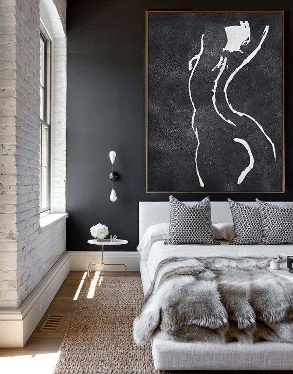 Extra Large Acrylic Painting On Canvas, Minimalist Painting Canvas Art, Black…