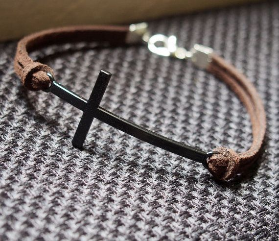 Cross Bracelet Single Vintage Cross Bracelet in Black-Brown Leather Bracelet-Men Gift-Boy Bracelet-Best Friendship Jewelry Gift