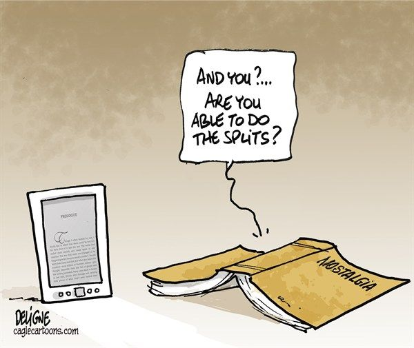The comfort of a book- it does the splits! Much faster to read, I find, don't you?