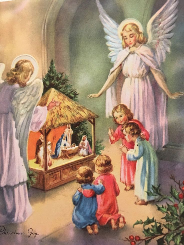 A personal favorite from my Etsy shop https://www.etsy.com/listing/476276012/vintage-christmas-card-pink-angels