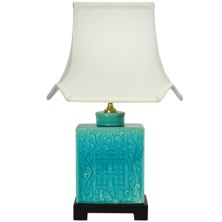 Handmade 19.5-inch Turquoise Vase Lamp (China) (19.5 Turquoise Lamp (China)), Blue (Steel)
