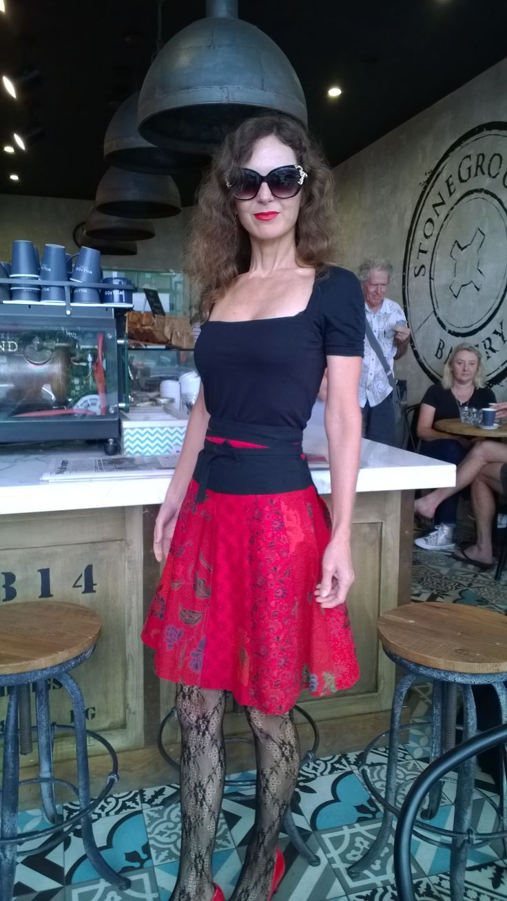 Fabulous red wrap skirt, all cotton. www.marketique.com.au
