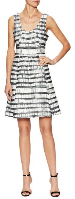 Tracy Reese Grey White Ania Woven Striped Mid-length Work/Office Dress Size 8 (M) - Tradesy