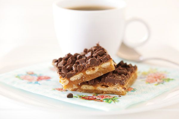 The combination of caramel, chocolate and salted crackers is bliss in this easy to make slice.