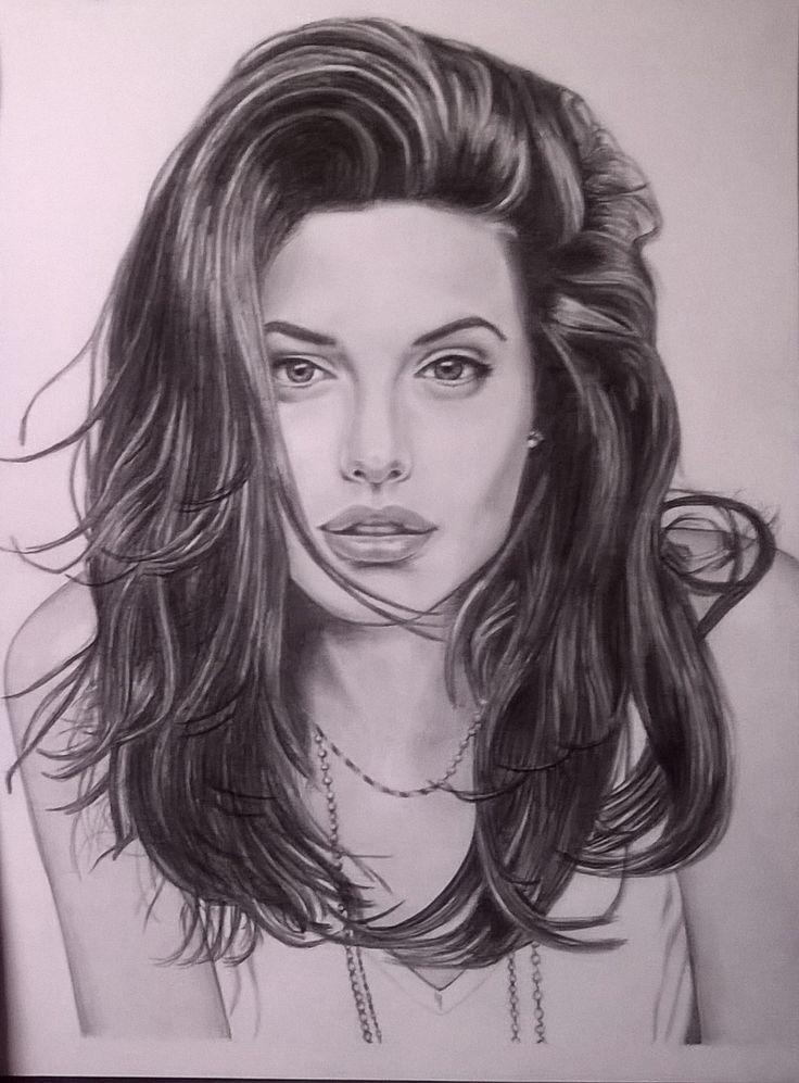 Angelina Jolie matita su cartoncino liscio 24x33