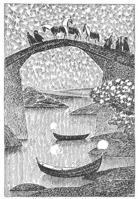 Finland's national treasure, Tove Jansson (of Moomin fame) did a wonderful series of Hobbit drawings. You can see them all here. - The Hobbit as depicted in art over the decades